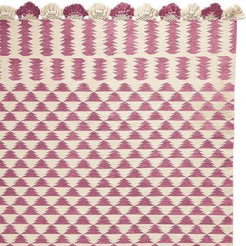 Rugs - Zig Cotton Dhurrie - Juice | Serena & Lily - pink dhurrie rug, pink zigzag rug, pink tassel dhurrie rug,