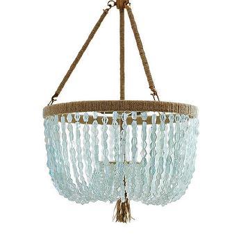 Lighting - Seychelles Chandelier   Serena & Lily - seaglass beaded chandelier, blue beaded chandelier, blue glass beaded chandelier,