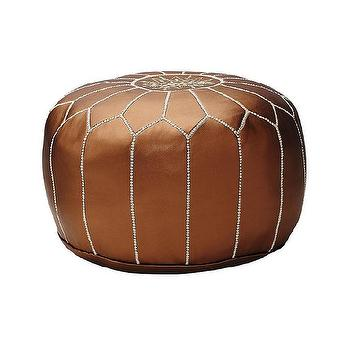 Seating - Moroccan Leather Pouf - Bronze | Serena & Lily - bronze moroccan pouf, moroccan leather pouf, bronze floor pouf,