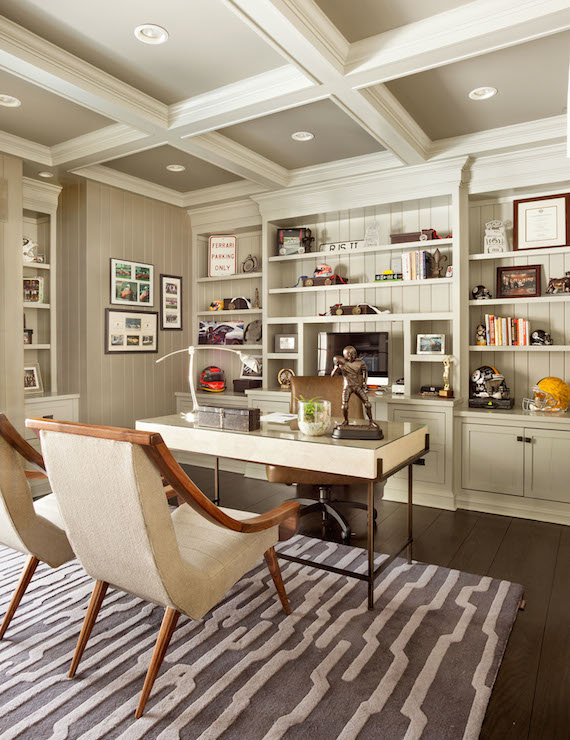 Painted Coffered Ceiling Transitional Denlibrary