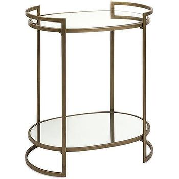 Tables - Ancona Mirror Accent Table I High Fashion Home - brass end table, brass accent table, brass and mirror accent table,