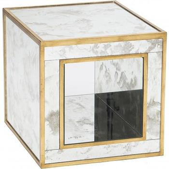 Tables - Susan Open Ended Mirrored Table I High Fashion Home - antique mirrored end table, mirrored cube end table, gold mirrored end table,