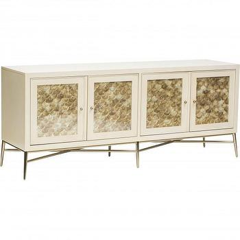 Storage Furniture - Salon Buffet I High Fashion Home - silver leafed buffet cabinet, ivory and silver buffet cabinet, hollywood regency style buffet,