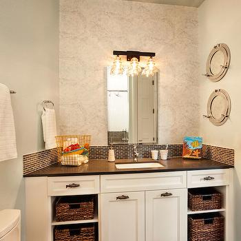 Caesarstone Raven, Cottage, bathroom, Sherwin Williams Topsail, Garrison Hullinger Interior Design