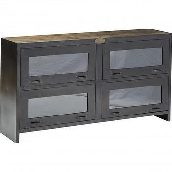 Storage Furniture - Rockwell Media Cabinet Four Hands I High Fashion Home - industrial media cabinet, iron and steel media cabinet, steel and glass media cabinet,