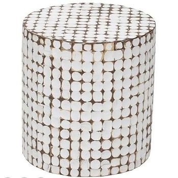 Tables - Juliette Coco End Table I High Fashion Home - coconut chip table, distressed white end table, textured white end table, white drum end table,