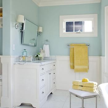 Blue Bathroom Paint, Traditional, bathroom, Benjamin Moore Woodlawn Blue, Garrison Hullinger Interior Design