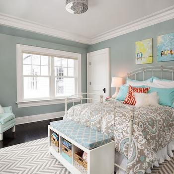 Garrison Hullinger Interior Design - girl's rooms - blue gray walls, blue gray wall coverings, white bed, white metal bed, kids beds, art over bed, birds on a wire art, birds on a wire canvas, kids art, suzani bedding, suzani duvet, blue and gray duvet, blue and gray bedding, turquoise shams, 1 drawer nightstands, kids nightstands, kids rugs, chevron rug, gray chevron rug, kids bench, storage bench, kids storage bench, kids reading corner, blue chair, blue roll arm chair, urban outfitters chandelier, ruffle bedskirt, white ruffle bedskirt,