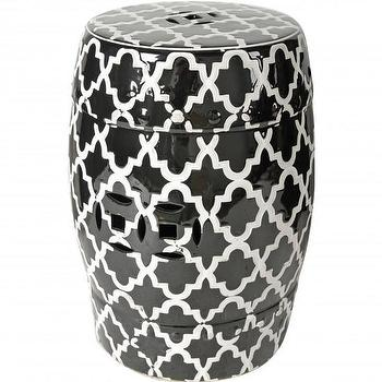 Seating - Black Pattern Garden Stool I High Fashion Home - black and white garden stool, moroccan garden stool, moorish print garden stool,