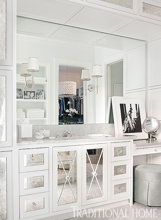Mirrored x mullion transitional bathroom traditional for Diy mirrored kitchen cabinets
