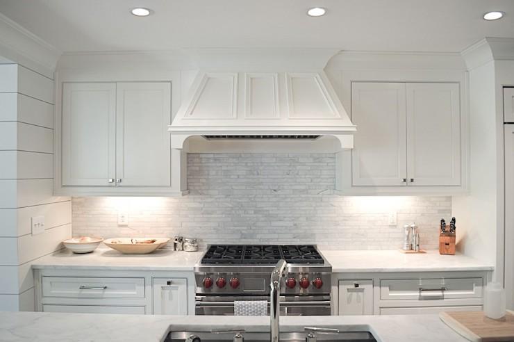 Linear Marble Tile Backsplash - Transitional - kitchen
