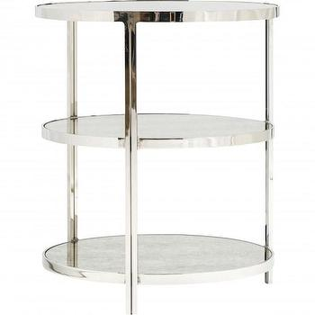Tables - Worlds Away Audrey Nickel 3 Tier Side Table I High Fashion Home - mirror and nickel side table, mirrored nickel side table, brushed nickel round side table, tiered brushed nickel side table,