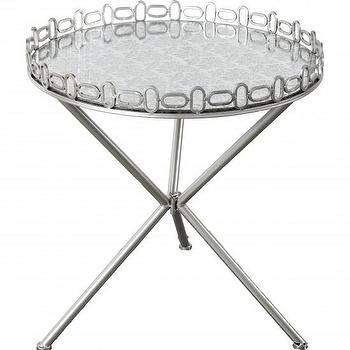 Tables - Karina Accent Table I High Fashion Home - nickel mirror topped accent table, nickel tripod accent table, round nickel tray table,