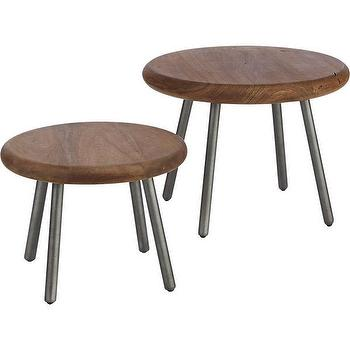 Tables - wafer tables set of two in accent tables | CB2 - modern acacia side table, round wood side table, wood and steel side table,