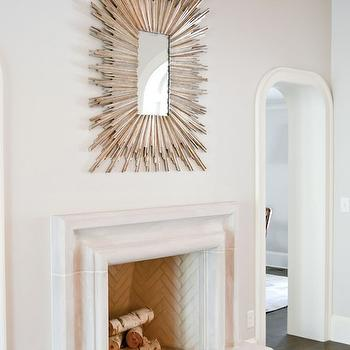 Either Orr - living rooms - fireplace mirror, over the fireplace mirror, above the fireplace mirror, white marble fireplace, marble hearth, white marble hearth, archway, Soleil Mirror,