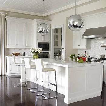 Tom Dixon Mirror Ball, Transitional, kitchen, Benjamin Moore Decorators White, Elle Decor