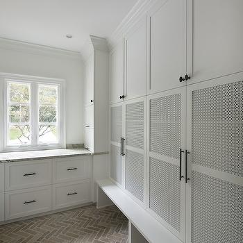 Either Orr - laundry/mud rooms - mudroom cabinets, mudroom lockers, stacked mudroom cabinets, mudroom floors, brick pavers, mudroom pavers, mudroom brick pavers, herringbone brick floor, herringbone brick pavers, mudroom floor ideas,