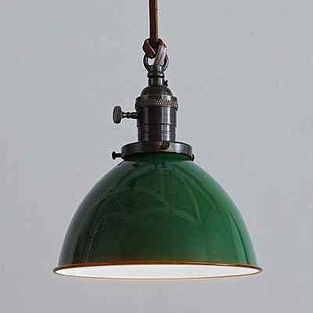 Lighting - Flea Market Rx Dome Pendant I Urban Outfitters - green dome pendant, green industrial pendant, green solid brass pendant light,