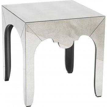 Tables - Chantelle Mirrored End Table Bernhardt I High Fashion Home - mirrored end table, aged mirrored end table, antiqued mirrored end table,
