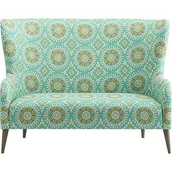 Seating - suitor loveseat | CB2 - blue green suzani loveseat, suzani print loveseat, aqua blue suzani loveseat,