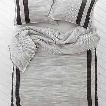 Bedding - 4040 Locust Spacedye Stripe Duvet Cover I Urban Outfitters - gray striped cotton duvet, gray striped duvet cover, gray striped cotton bedding,