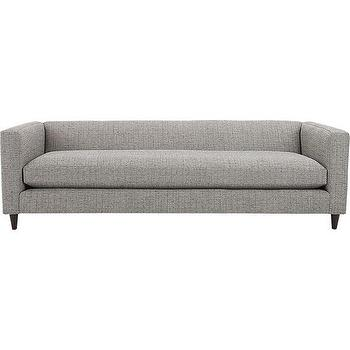 Seating - movie sofa | CB2 - modern gray sofa, gray tweed sofa, gray bench cushion sofa, contemporary gray sofa,