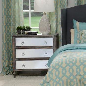 Storage Furniture - Mirrored 3-Drawer Chest | Kirklands - mirrored chest, mirror front nightstand, mirror front bedside table, nightstand with mirrored drawers,