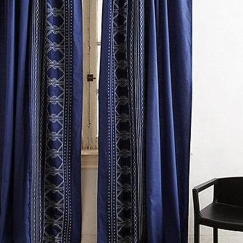Window Treatments - Embroidered Mosaic Curtain I anthropologie.com - navy and white drapes, navy embroidered drapes, navy curtains with white embroidery,
