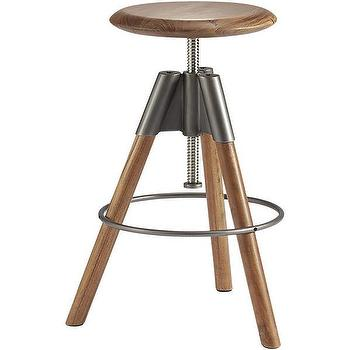 Seating - revolution adjustable bar stool | CB2 - adjustable wood bar stool, modern wood backless barstool, adjustable acacia wood barstool, acacia wood bar stool,