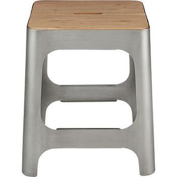 Seating - hitch raw stool | CB2 - zinc stool, zinc powdercoated stool, metal and wood stool,