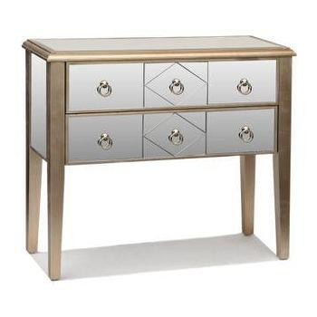 Storage Furniture - Champagne Mirrored Drawer Console Table | Kirklands - mirrored console table, mirrored console table with drawers, champagne mirrored console table,