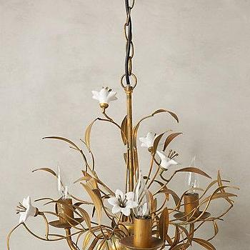 Lighting - Burgeoning Blooms Chandelier I anthropologie.com - brass flower chandelier, brass chandelier with white flowers, gold chandelier with white flowers, vintage floral chandelier,