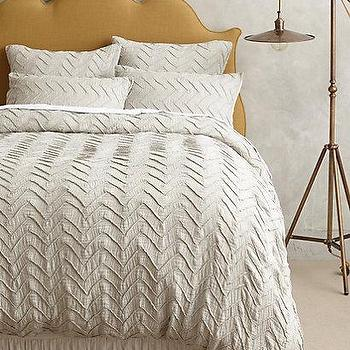 Bedding - Textured Chevron Duvet I anthropologie.com - gray chevron duvet, gray chevron bedding, textured chevron bedding, textured chevron duvet,