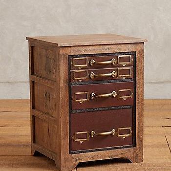 Storage Furniture - Printmakers Nightstand I anthropologie.com - printmakers nightstand, vintage style nightstand, wood and brass nightstand,