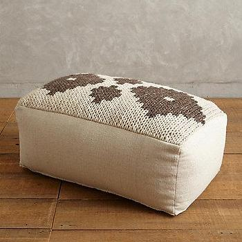Seating - Handknit Paragon Pouf I anthropologie.com - woven pouf, brown and ivory pouf, knitted floor pouf, woven rectangular floor pouf,