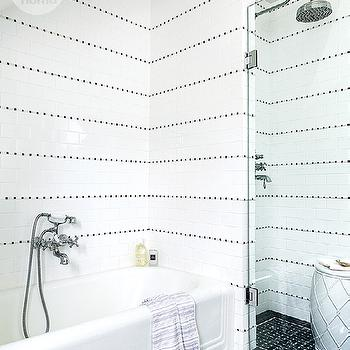 Black and White Shower Tiles, Contemporary, bathroom, Style at Home