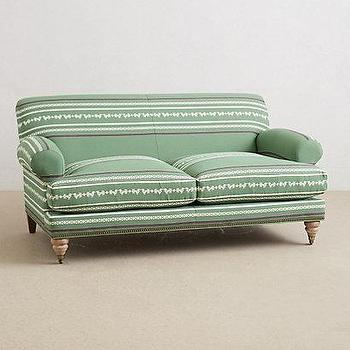 Seating - Yarn-Dyed Willoughby Settee I anthropologie.com - green sofa, green yarn dyed settee, green patterned sofa, green settee with nailhead trim,