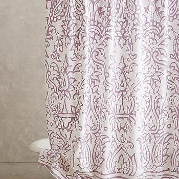 Bath - Lodhi Shower Curtain I anthropologie.com - lavender damask shower curtain, lavender screen printed shower curtain, purple damask shower curtain,