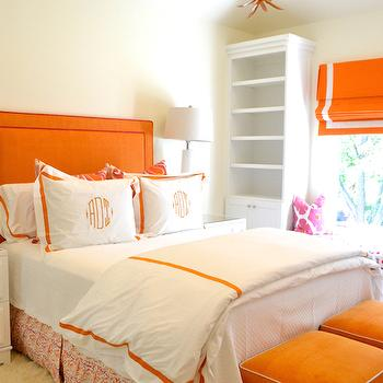 Orange Headboard, Contemporary, bedroom, Jenkins Interiors