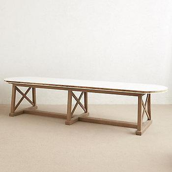 Tables - Lacquered Farmhouse Table I anthropologie.com - lacquered farmhouse table, pine and oak farmhouse table, farmhouse dining table, extra long farmhouse table,