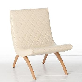 Seating - Arteriors Danforth Ivory Chair - furniture,seating,chair,armless,lounge chair,midcentury,modernism,cream,off-white,off white,living room,den,sitting area,office,bedroom