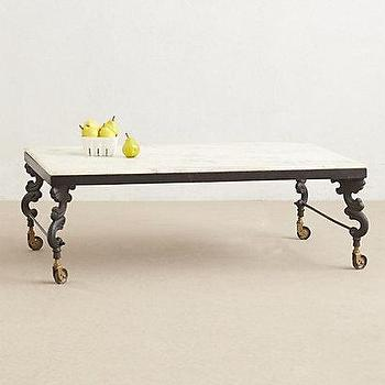 Tables - Marble Top Coffee Table I anthropologie.com - marble topped coffee table, iron and marble coffee table, traditional marble topped coffee table, bistro style coffee table, parisian bistro coffee table,