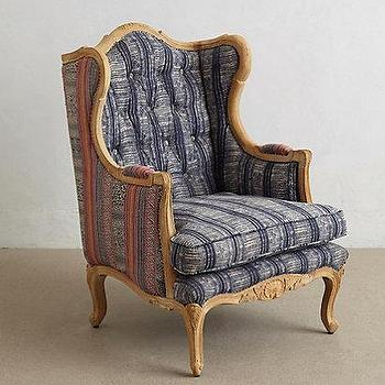Seating - Embroidered Kaili Armchair I anthropologie.com - wingback batik armchair, batik armchair, thai batik chair,
