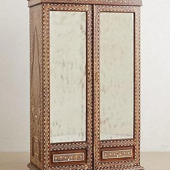 Storage Furniture - Bone Inlay Armoire I anthropologie.com - bone inlaid wardrobe, bone inlaid armoire, mirrored bone inlay armoire, bone inlay armoire,