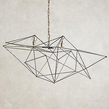 Lighting - Iron Web Chandelier I anthropologie.com - sculptural iron chandelier, sculptural wire chandelier, geometric wire chandelier, modern wire chandelier,