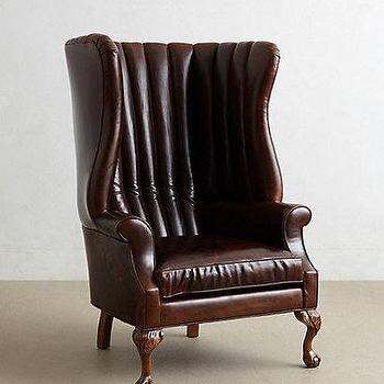 Seating - Leather English Fireside Chair I anthropologie.com - channel tufted leather chair, brown leather wingchair, wingback leather chair,