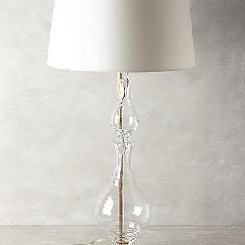 Lighting - Hourglass Lamp Ensemble I anthropologie.com - glass and brass lamp, blown glass lamp, curved glass lamp,
