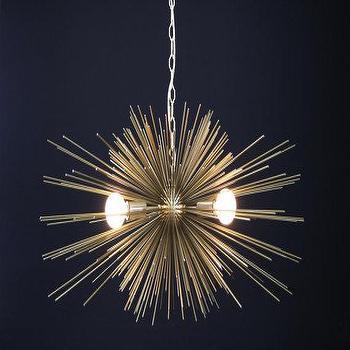 Lighting - 3-Bulb Gold Urchin Chandelier I Dutton Brown Design - gold urchin chandelier, gold sputnik chandelier, retro gold chandelier,