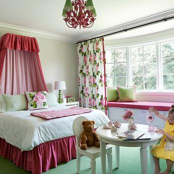 Wolfe Design House - girl's rooms - pink and green girls room, pink and green girls bedroom, round white play table, white oval back kids chair, white kids chair, white play table and chairs, green carpet, green carpeting, apple green carpet, pink ruffled bedskirt, ruffled bed skirt, green bed linens, white bedding, pink rose pillow, pink and green floral pillow, pink and green floral drapes, pink and green botanical drapes, bay window seat, bay window seat with storage, bay window seating, pink seat cushion, green pillow, apple green pillow, rose print drapes, floral drapes with grosgrain trim, green table lamp, green spindle lamp, white open shelf nightstand, matching nightstands, pink floral chandelier, pink and green chandelier, girls room chandelier, secret garden room, secret garden kids room, hot pink bedskirt, hot pink ruffled bedskirt, kids bed curtains, kids bed canopy, hot pink bed canopy, pink and green curtains, pink and green floral curtains, kids bay window, bay window window seat, window seat in bay window, bay window bench, bay window built in bench, bay window curtains, bay window drapes,