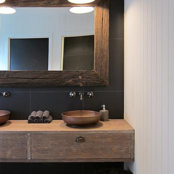 Rustic Modern Bathroom With Floating Salvaged Wood Vanity Accented